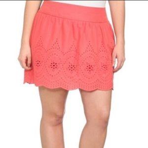Women's Torrid Coral Scallop Skirt.